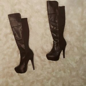 Qupid Shoes - Faux leather over the knee platform heel boots
